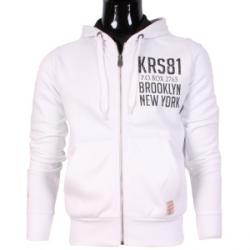 Vest hoodie zipped white print