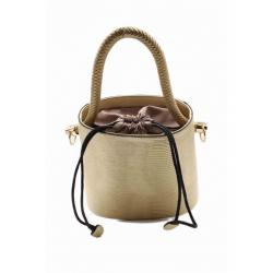 bucket style handbag embossed lizard imitation