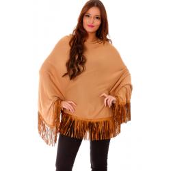 Poncho Camel long end to imitation suede fringe