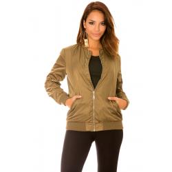Kaki bomber jacket with pockets, ultra trendy