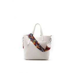 Zippered Effect Leather Tote Bag with Extra Color Shoulder Strap and Removable Pouch