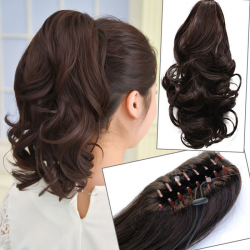 Nouveau clip dans l'extension de cheveux Longly Curly Black Claw Ponytail Hair Piece