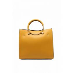 Handbag Leather Handbag with Round Handle 6494-Yellow