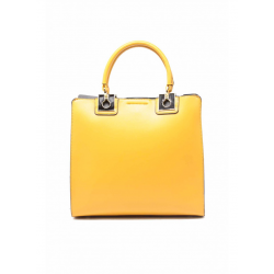 Leather Handbag with Handles 6532-Yellow