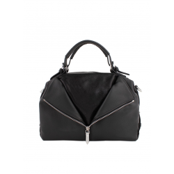 Cowhide Leather Handbag Decoration Zip 5530-Black