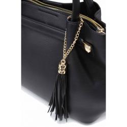 Handbag with Pendant 6503A-Black