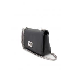 Metal Chain Shoulder Bag Cowhide Leather Tourniquet Closure 8631-Black