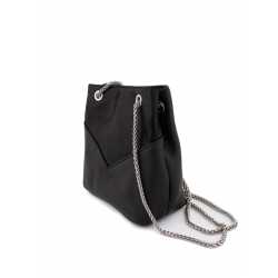 Mini Handbag with Metallic Chain in Cowhide Leather 5534-Black