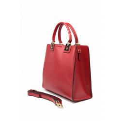 Leather Handbag with Handles 6532-Red