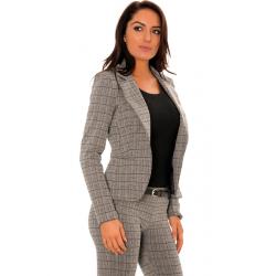 Gray blazer jacket with black stripe check pattern.