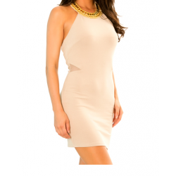 Cocktail Dress with Gold Collar Neck and Halter Sold in Packs of 10