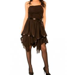 BIG BOX Ravissante robe marron avec attache, bustier drapé et bas asymétrique.