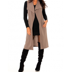 Sublime long sleeveless taupe jacket and very fashionable lapel collar. Woman jacket.