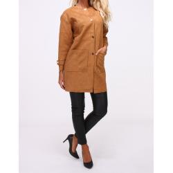 Long-sleeved suede jacket