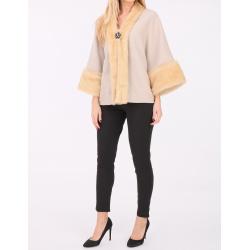 Faux fur collar fleece jacket