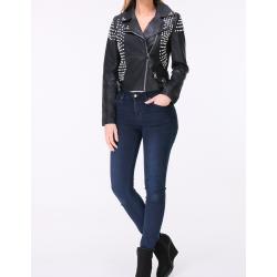 Jacket imitation leather beads with studs