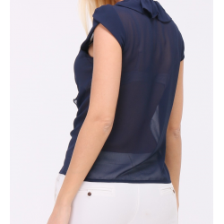 Short-sleeved blouse with v-neck