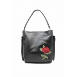 Crossbody Bag with Embroidered Flower