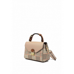 Mini Pattern Leather Cross Body Bag with Check Pattern