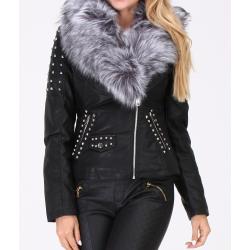 Jacket leatherette with false sticks