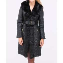 Coat faux leather and faux fur