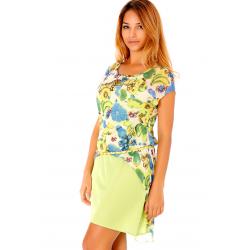 Robe verte pour femme avec jolis motifs colorés et ceinture