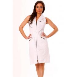 Robe sans manches en Blanc zippé avec magnifique motif brodé au dos