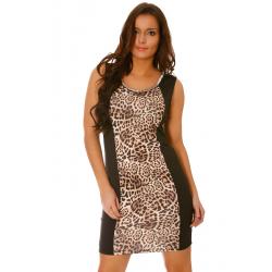 Robe de soirée Noire courte moulante imprimée léopard et encolure strass argentés