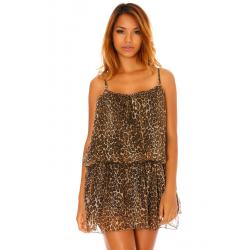 Robe à fines bretelles en voilage et volants motif léopard