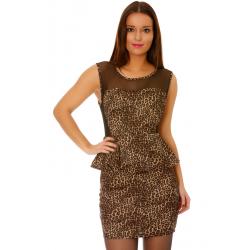 Robe de soirée courte moulante léopard à volants et dos nu tulle noir