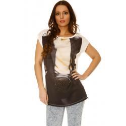 Tee shirt Blanc fluide, matière satinée sur le devant, avec impression sac en strass