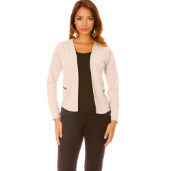 Short jacket and beige fluid with zippers