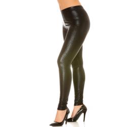 Black leggings shiny python hipster pattern
